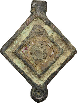 obverse: Bronze seal-box, with enamel inlaids.  Roman period, 1st-3th century AD.  31 mm