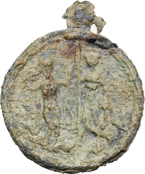reverse: Lead round pendant with Anguipede (Abraxas) with serpent legs, holding whip and shield.   Roman, 3rd-4th century AD.  21 mm