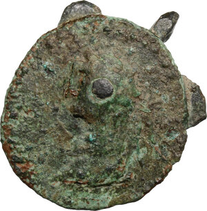 obverse: Bronze round pin with tridimensional bronze dove applied on a pre-existent coin.  Barbaric, 3rd-5th century AD.   mm