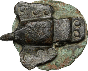 reverse: Bronze round pin with tridimensional bronze dove applied on a pre-existent coin.  Barbaric, 3rd-5th century AD.   mm