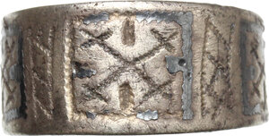 obverse: Silver ring engraved with geometric patterns.   Vikings, 8th-11th century.  Size 19 mm