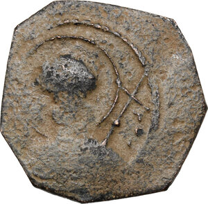 obverse: Tancred, Regent (1101-1104, 1104-1112). AE Follis, Antioch mint, 1104-1105