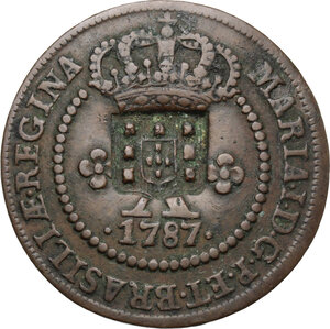 obverse: Brazil.  Countermarked coinage.. AE 20 Reis nd. (1809) with countermark shield on 10 Reis 1787 of Maria I (1786-1805)