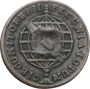 reverse: Brazil.  Countermarked coinage.. AE 20 Reis nd. (1809) with countermark shield on 10 Reis 1787 of Maria I (1786-1805)