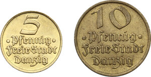 obverse: Danzig.  Free city. Lot of two (2) coins: 10 and 5 Pfennig 1932