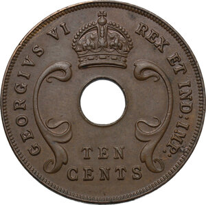 obverse: East Africa.  George VI (1936-1952).. AE 10 Cents