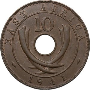 reverse: East Africa.  George VI (1936-1952).. AE 10 Cents