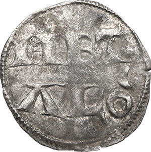 reverse: France.  Charles le Simple As Charles IV, King of West Francia (898-922). AR Denier, Metalo (Melle) mint