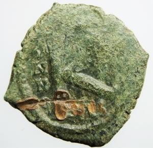 reverse: Bizantini. Giustiniano I. 527-565 d.C. Mezzo Follis. AE. D/ DN IVSTINIANVS PP AVG, Giustiniano. R/ Grande K a sinistra ANNO, sopra Chi-ro, a destra XX. Peso 5,30 gr. Diametro 23,01 mm. BB.