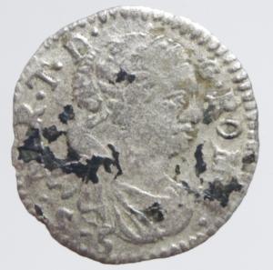 obverse: Zecche Italiane. Mantova. Maria Teresa (1740-1780). 5 soldi 1754. MIR 763/2. MI. g.0,65 RR. qBB.
