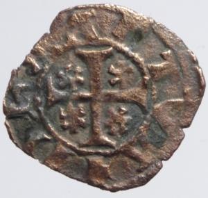 obverse: Zecche Italiane.Mantova. Luigi (1328-1360) o Guido Gonzaga (1360-1369).Aquila\Croce con gigli. Quattrino. MIR 373.Peso 0,95 gr. MI. Non comune. BB.