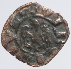reverse: Zecche Italiane.Mantova. Luigi (1328-1360) o Guido Gonzaga (1360-1369).Aquila\Croce con gigli. Quattrino. MIR 373.Peso 0,95 gr. MI. Non comune. BB.
