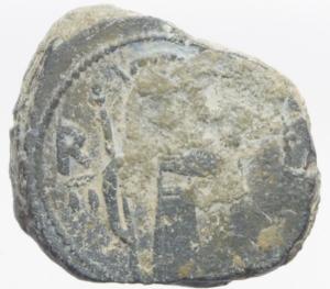 obverse: Zecche Italiane.Messina. Ruggero II (1105-1154). Doppio follaro, 1127-1130. Sp. 53. MIR 17. AE. g. 5.96 mm. 20.00 qSPL.