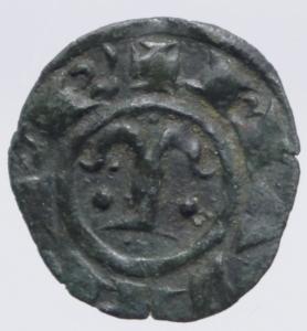 obverse: Zecche Italiane.Messina. Manfredi (1258-1266) Denaro. D/ la Tau tra due puntini R/ Croce. MI, 0.75 gr. Sp.221. R. BB+.