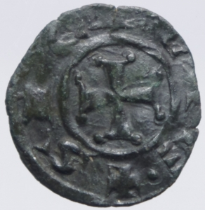 reverse: Zecche Italiane.Messina. Manfredi (1258-1266) Denaro. D/ la Tau tra due puntini R/ Croce. MI, 0.75 gr. Sp.221. R. BB+.