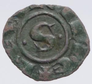 obverse: Zecche Italiane.Messina. Manfredi (1258-1266) Denaro. D/ S tra due puntini R/ Croce. MI, 0.55 gr. Sp.198. R. BB+.