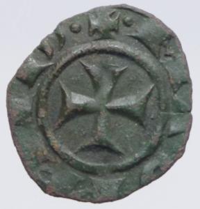reverse: Zecche Italiane.Messina. Manfredi (1258-1266) Denaro. D/ S tra due puntini R/ Croce. MI, 0.55 gr. Sp.198. R. BB+.