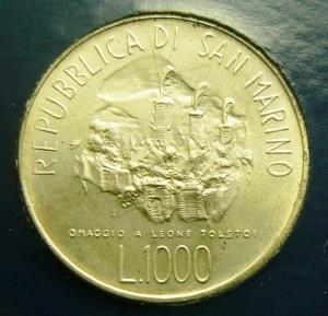 reverse: Zecche Italiane. San Marino. 1000 lire 1978 in confezione.
