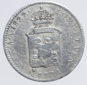 reverse: Zecche Italiane. Venezia. Francesco I d Asburgo e Lorena (1815-1835). 1/4 di lira 1822. Pag. 153. AG.BB
