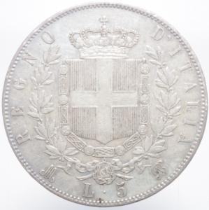 reverse: Casa Savoia. Vittorio Emanuele II. 5 Lire 1872 Milano. Pagani 494. Ag. BB\qSPL.