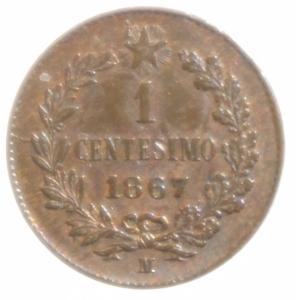 reverse: Casa Savoia. Vittorio Emanuele II. 1 Centesimo 1867. Milano. Rame. Peso 1,00 gr. Diametro 15 mm. SPL+.
