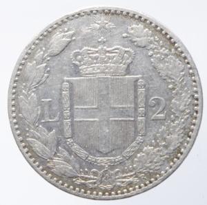 obverse: Casa Savoia. Umberto I. 2 Lire 1884. Roma. Ag. Peso 10,00 gr. Diametro 27,50 mm. BB+.