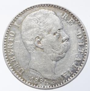 reverse: Casa Savoia. Umberto I. 2 Lire 1884. Roma. Ag. Peso 10,00 gr. Diametro 27,50 mm. BB+.