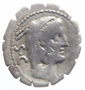 obverse: Repubblica Romana. Gens Procilia. Lucius Procilius. 80 a.C. Denario. D/ S.C. (Senatus Consulto). Testa di Giunone Sospita a destra. R/ L.PROCILI F. (Lucius Procilius, filius), Giunone Sospita su biga verso dx. regge lancia e scudo, ai piedi dei cavalli un dragone. Peso 3,61 gr. Diametro 18 mm. Cr. 379/2. qBB.