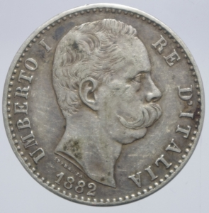 obverse: Casa Savoia. Umberto I. 2 Lire 1882. Roma. Ag. Peso 10,00 gr. Diametro 27,50 mm. BB+.