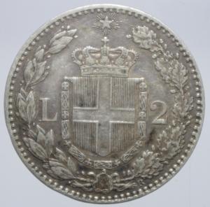 reverse: Casa Savoia. Umberto I. 2 Lire 1882. Roma. Ag. Peso 10,00 gr. Diametro 27,50 mm. BB+.