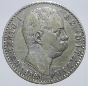 obverse: Casa Savoia. Umberto I. 2 Lire 1883. Roma. Ag. Peso 10,00 gr. Diametro 27,50 mm. qBB.