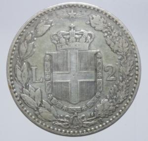 reverse: Casa Savoia. Umberto I. 2 Lire 1883. Roma. Ag. Peso 10,00 gr. Diametro 27,50 mm. qBB.