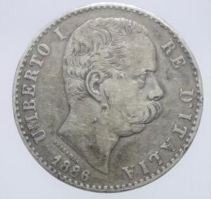 obverse: Casa Savoia. Umberto I. 2 Lire 1886. Roma. Ag. Gig.30. Peso 10,00 gr. Diametro 27,50 mm. BB