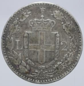 reverse: Casa Savoia. Umberto I. 2 Lire 1886. Roma. Ag. Gig.30. Peso 10,00 gr. Diametro 27,50 mm. BB