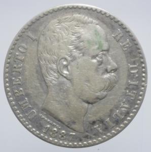 obverse: Casa Savoia. Umberto I. 2 lire 1887. Ag. BB+