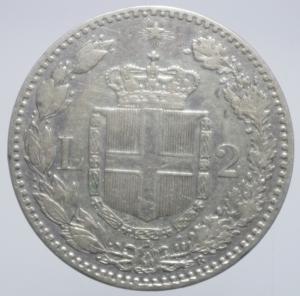 reverse: Casa Savoia. Umberto I. 2 lire 1887. Ag. BB+