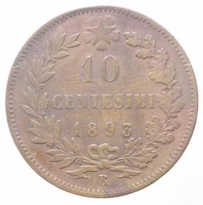 obverse: Casa Savoia. Umberto I. 10 Centesimi 1893. ROMA. Peso 10,00 gr. Diametro 30 mm. Pagani 613.BB. R.
