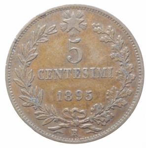 obverse: Casa Savoia. Umberto I. 5 Centesimi 1895. Peso 5,00 gr. Diametro 25 mm. Pagani 617.BB+