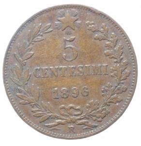 obverse: Casa Savoia. Umberto I. 5 Centesimi 1896. Peso 5,00 gr. Diametro 25 mm. Pagani 618. BB+.R