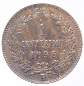 reverse: Casa Savoia. Umberto I. 1 Centesimo 1896. Peso 1,00 gr. Diametro 15 mm. Pagani 626. SPL