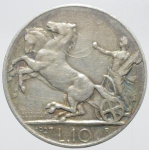 reverse: Casa Savoia. Vittorio Emanuele III. 10 Lire 1927 Biga. Peso 9,86 Diametro 27,21 mm. BB+. NC.