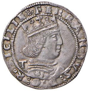obverse: Napoli. Ferdinando I d'Aragona (1458-1494). Coronato (sigla T; Gian Carlo Tramontano m.d.z., 1488-1514) AG gr. 3,94. P.R. 17b. MIR 69/2. Vall-Llosera i Tarres 165 tipo F (1489/90-1494). Esemplare ben coniato, SPL