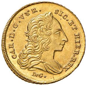 obverse: Napoli. Carlo di Borbone (1734-1759). Da 6 ducati 1749 AV gr. 8,83. P.R. 1. MIR 331. Raro. q.FDC