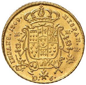 reverse: Napoli. Carlo di Borbone (1734-1759). Da 6 ducati 1749 AV gr. 8,83. P.R. 1. MIR 331. Raro. q.FDC