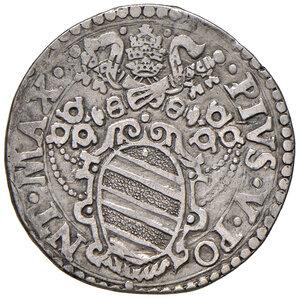 obverse: Ancona. Pio V (1566-1572). Testone AG gr. 9,34. Muntoni 32. Berman 1105. Dubbini-Mancinelli pag. 146 (2° tipo). MIR 1097/2. BB