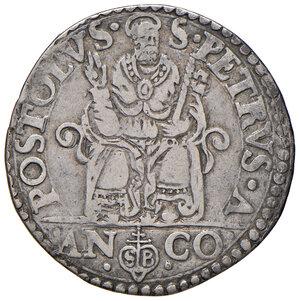 reverse: Ancona. Pio V (1566-1572). Testone AG gr. 9,34. Muntoni 32. Berman 1105. Dubbini-Mancinelli pag. 146 (2° tipo). MIR 1097/2. BB