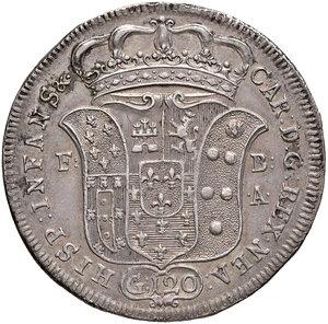 obverse: Napoli. Carlo di Borbone (1734-1759). Piastra da 120 grana 1734 AG gr. 25,07. P.R. 22. MIR 334. Migliore di BB