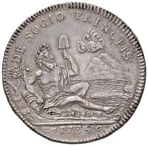 reverse: Napoli. Carlo di Borbone (1734-1759). Piastra da 120 grana 1734 AG gr. 25,07. P.R. 22. MIR 334. Migliore di BB