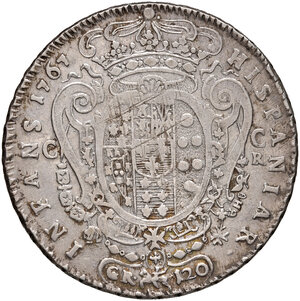 reverse: Napoli. Ferdinando IV di Borbone (1759-1816). Piastra da 120 grana 1767 AG gr. 25,09. P.R. 46. MIR 366. Rara. BB