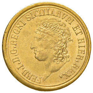 obverse: Napoli. Ferdinando I di Borbone (1816-1825). Da 3 ducati 1818 AV. Pagani 80. P.R. –. MIR –. Variante molto rara con punto dopo REX al dritto. Molto rara. q.SPL/SPL